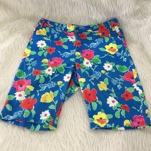 Lands end blue floral shorts